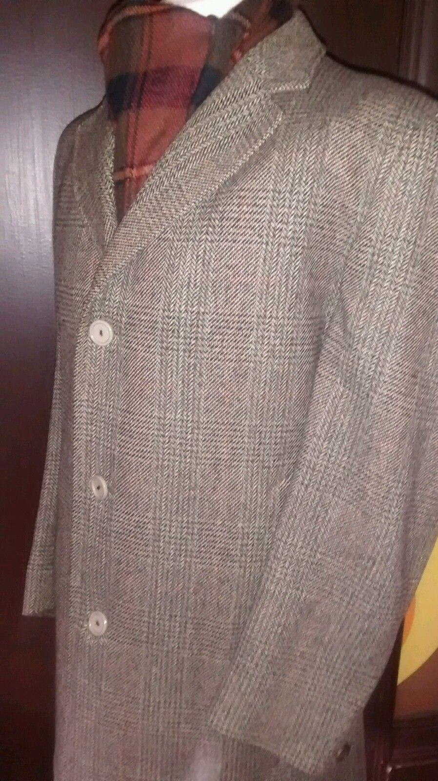 """Mens Vintage Crombie Tweed Winter Coat Large 44"""" Pure Wool Warm Check Overcoat"""