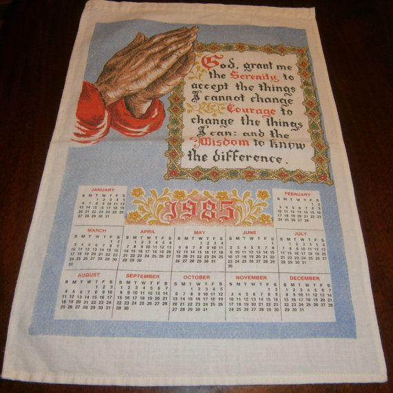 1985 Calendar Towel Serenity Prayer 7 99 Kitchen Textiles
