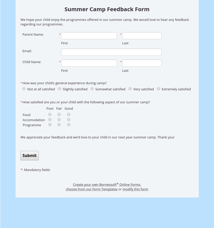 Summer Camp Feedback Form By Borneosoft Online Forms Feedback