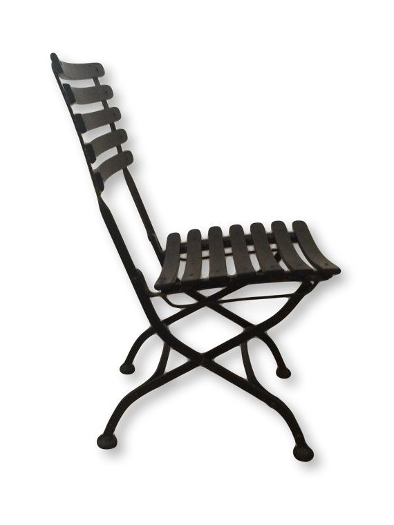 Four (4) Black Metal Bistro Folding Dining Patio Chair Indoor Outdoor Chairs  Garden Furniture