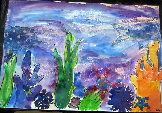 Kids Art: sea scene   Ocean art projects, Landscape art ...