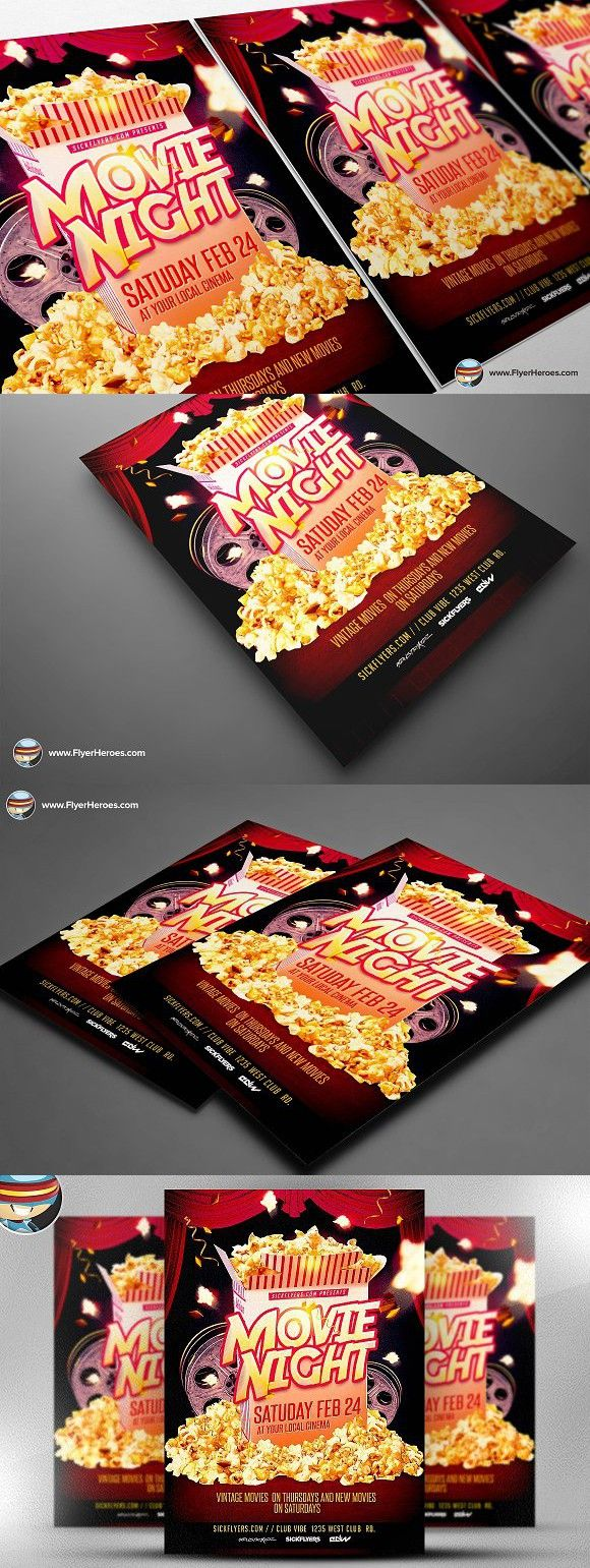 Movie Night Flyer Template  Flyer Template Template And Business