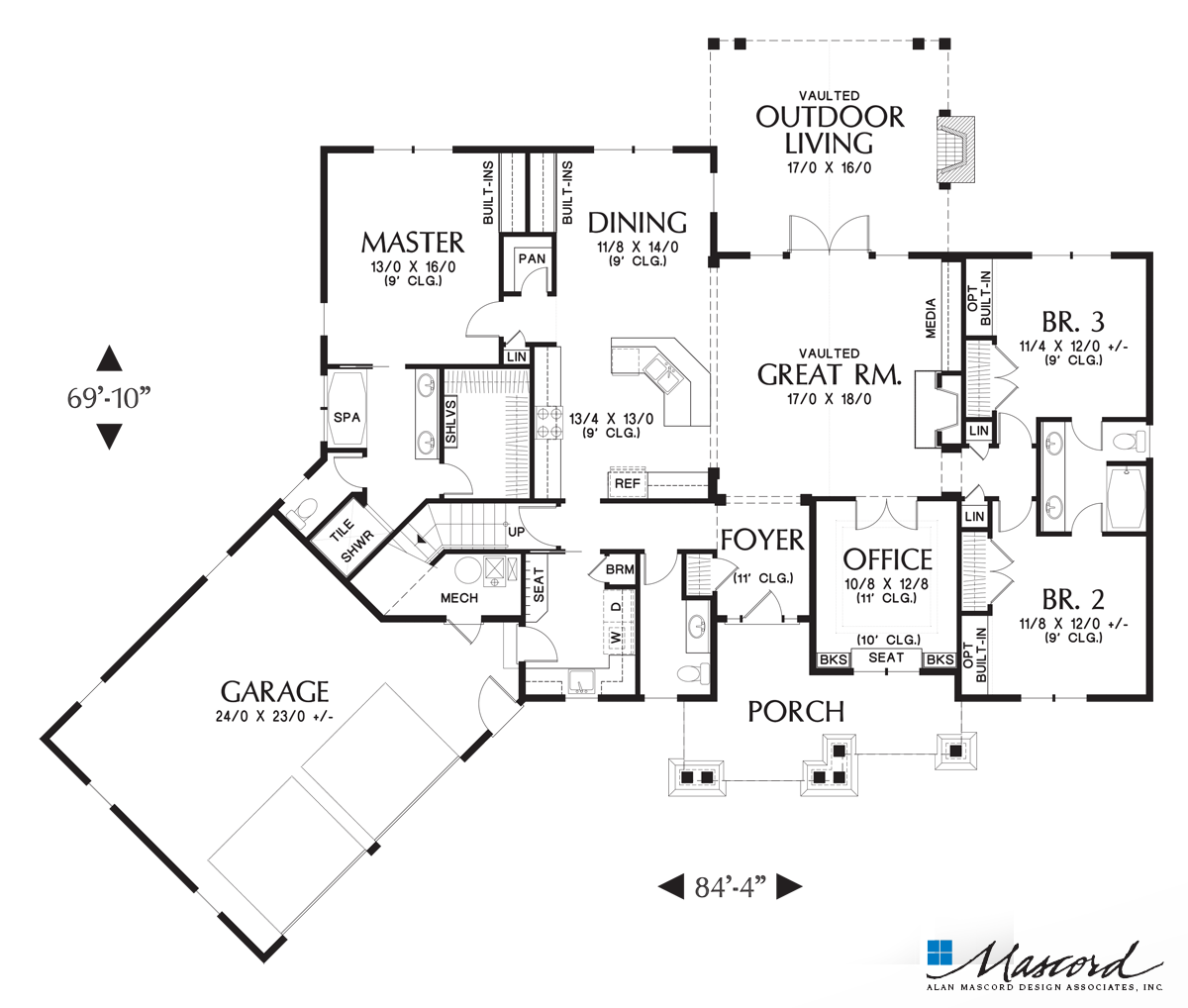 Main Floor Plan Of Mascord Plan 1248 The Ripley Stylish Single Story With Great Outd Craftsman Style House Plans Craftsman House Plan Craftsman House Plans