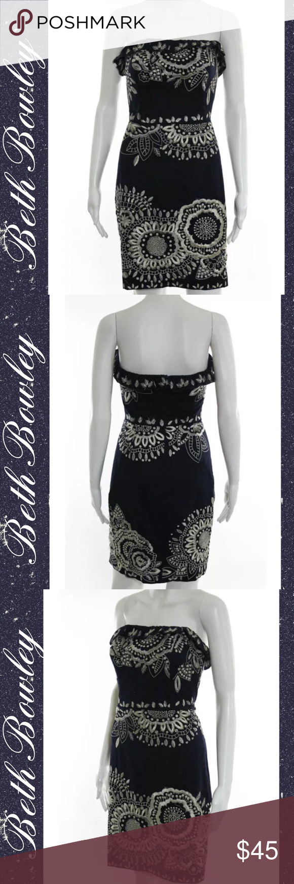 """BETH BOWLEY Classy Navy/White Embroidered Dress SIZE 6. 35"""" Length. 26"""" Waist. 32"""" Bust. 100% Cotton. Strapless w Ruffled Hemline. Back Zipper Closure. Deep Navy Blue Color w White Embroidered Floral Designs. EUC Beth Bowley Dresses Strapless"""