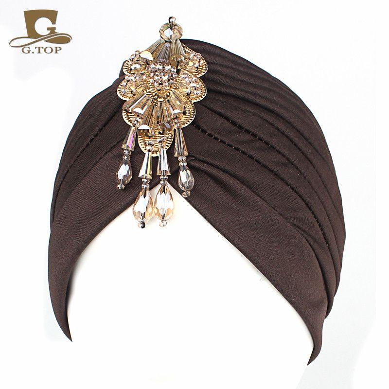 NUEVO Lujo Divas turbante Head wrap sombrero con colgante de perlas de las mujeres Headwear