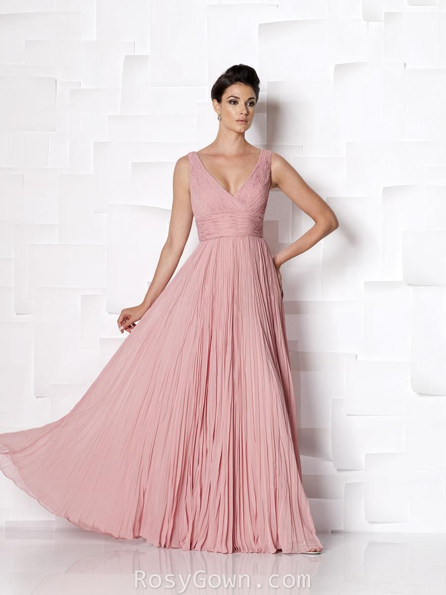 sleeveless v-neck pleated rose chiffon full a-line mother of the ...