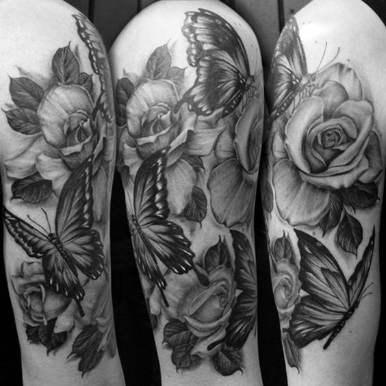 Realistic Black And White Butterfly Tattoos Grey butterfly ...