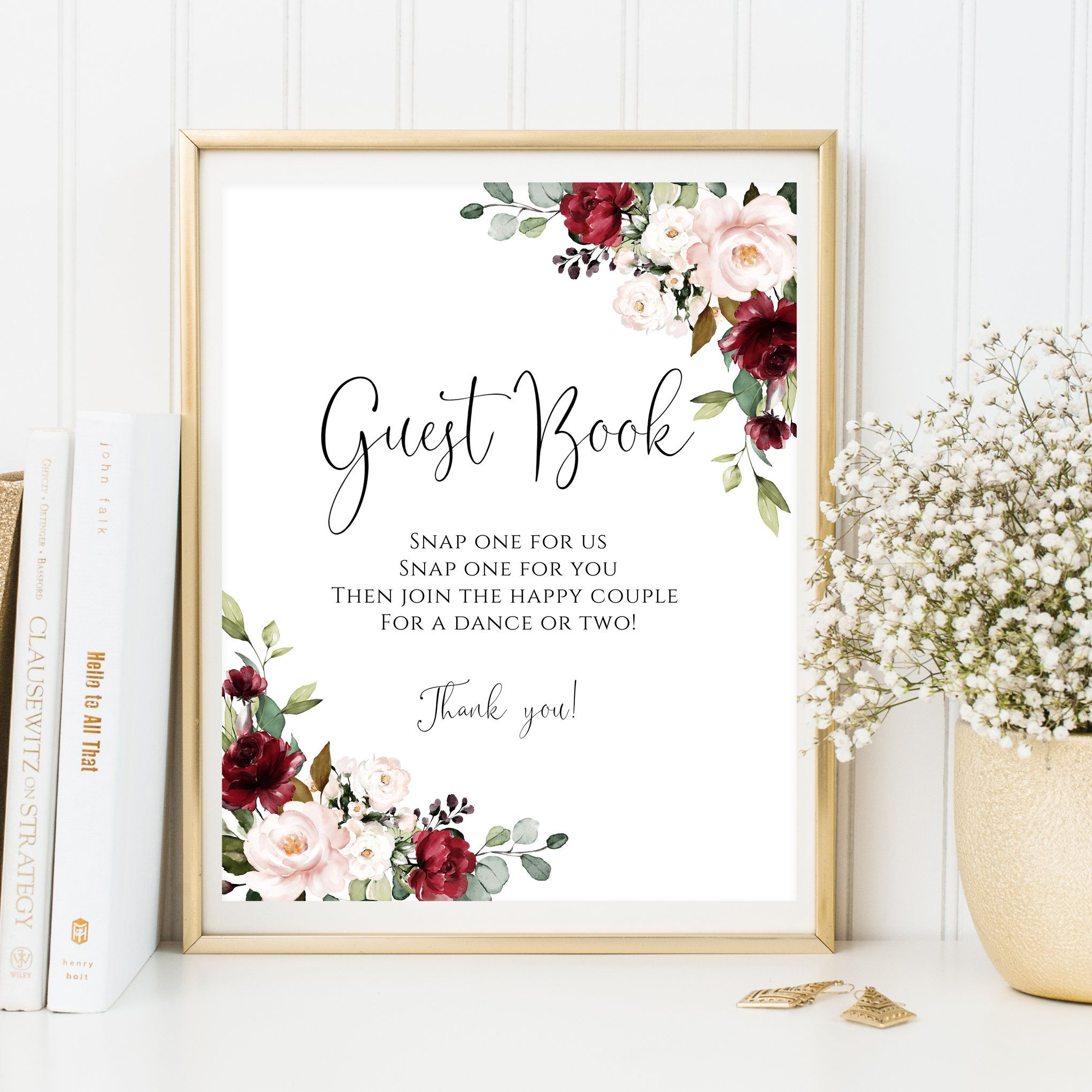 Burgundy Wedding Guest Book Sign Template, Printable Guest Book Sign, Guest Book Sign, Snap signs, Please Sign, PDF Instant Download, #excelwordaccessetc