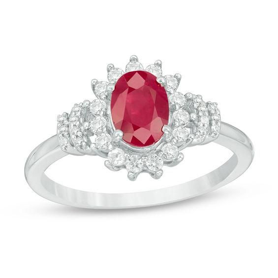 Zales Princess-Cut Lab-Created Ruby and White Sapphire Geometric Eternity Band in Sterling Silver and 14K Rose Gold Plate