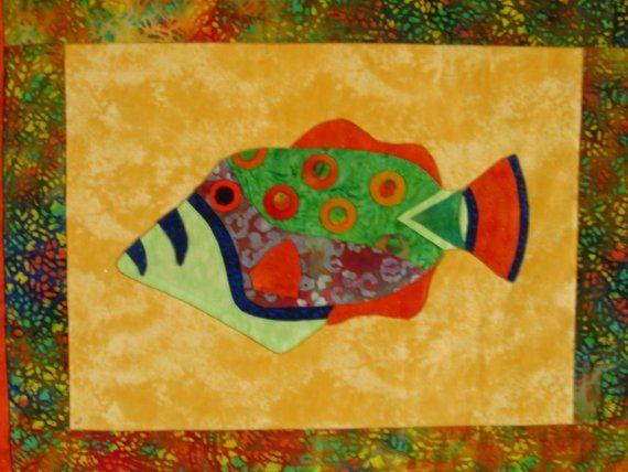 Fish Wall Art Quilt Wall Hanging Tropical Batik <> $60.00 | Fish and ...