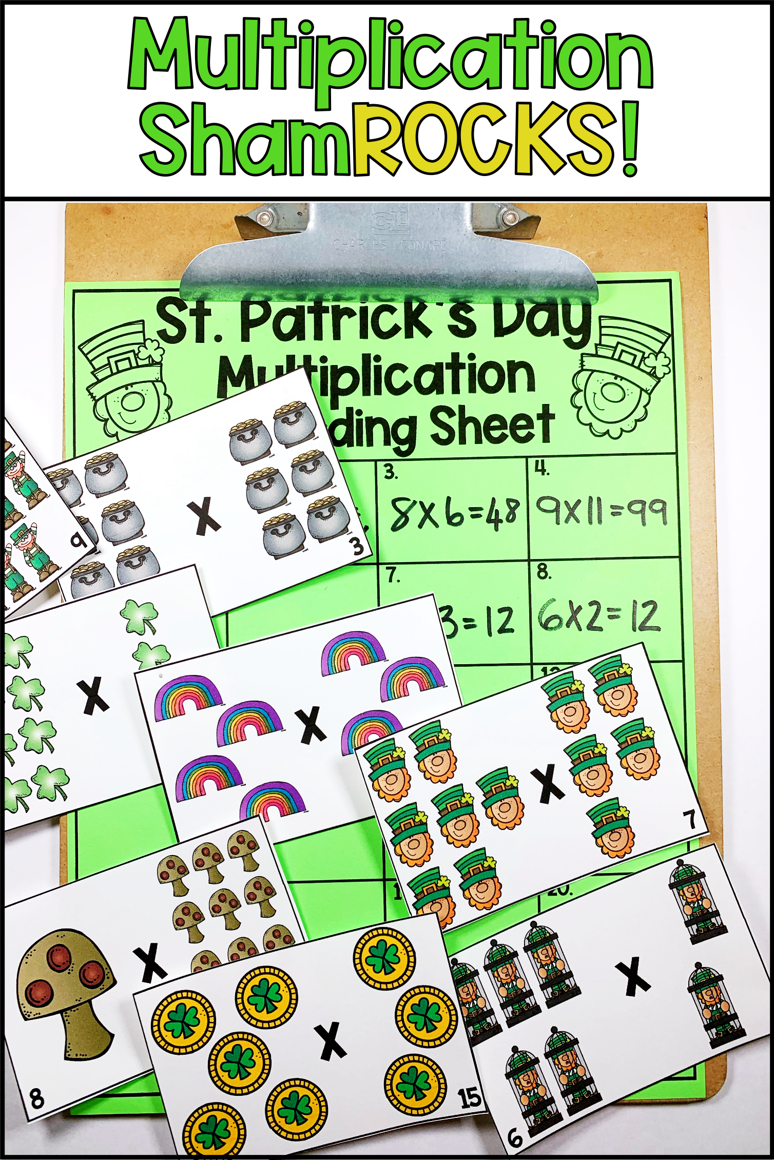 St Patrick S Day Multiplication Task Cards In