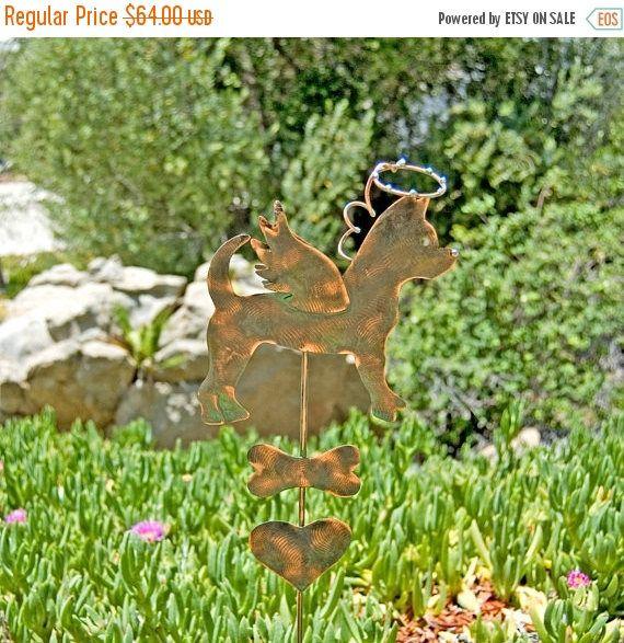 Chihuahua Pet Memorial Garden Art Stake, Metal Yard Art, Copper Pet Memorial Dog Sculpture, Grave Marker Dog Sign, Angel Pet Garden Marker