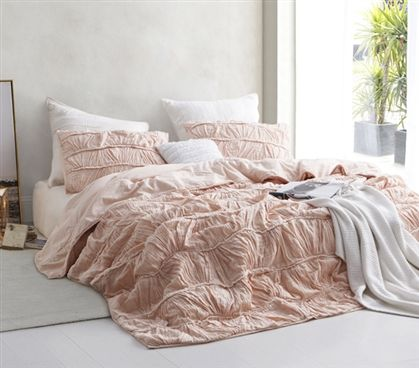Motley Texture Twin Xl Comforter Peach Pink Bedding Sets Bed
