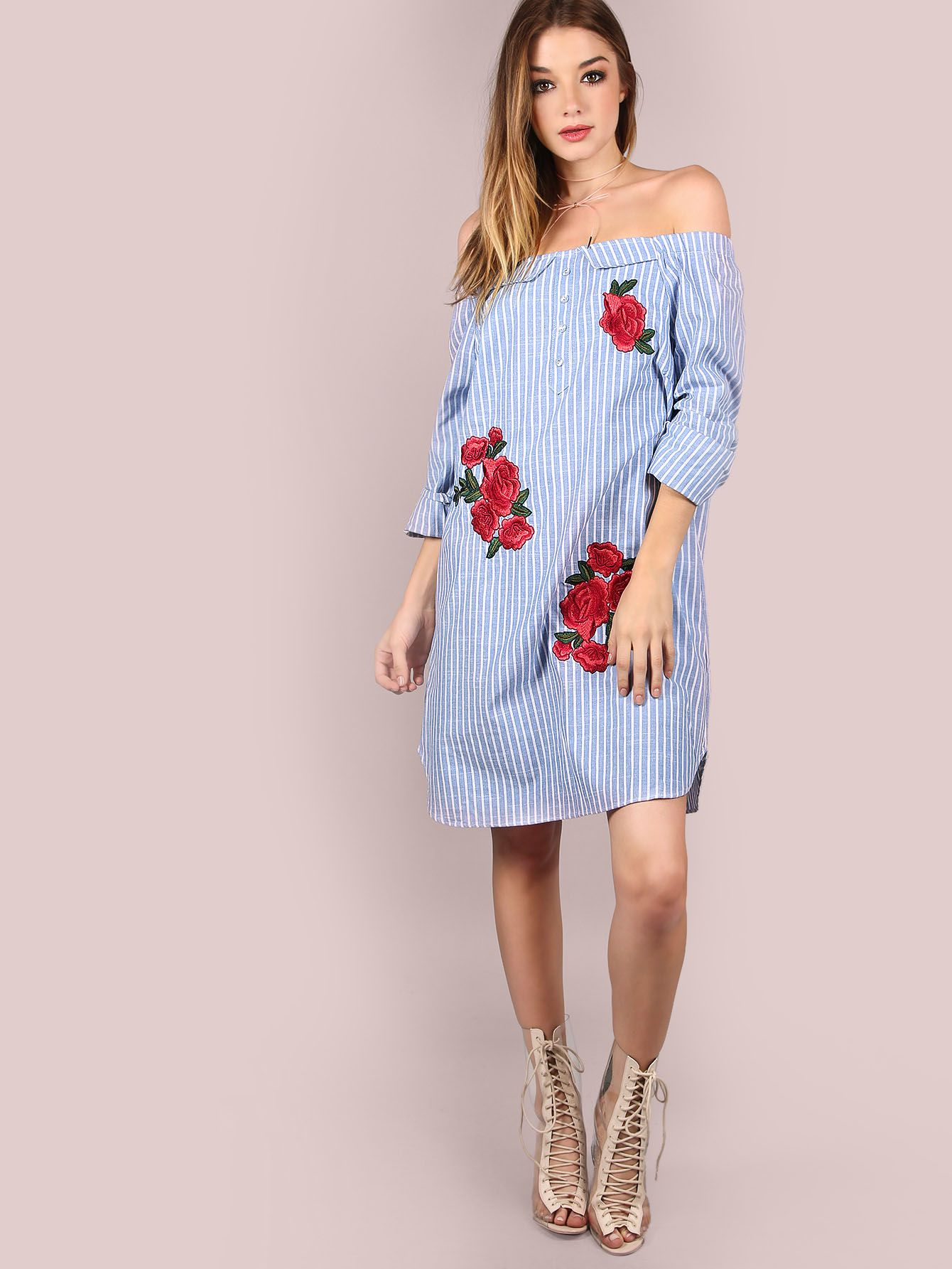 ae631cc45a5fc Featuring an open shoulder body with long sleeve arms, an elastic shoulder  band, a flowy bodice, fresh cotton stripe material, rose patches for added  ...