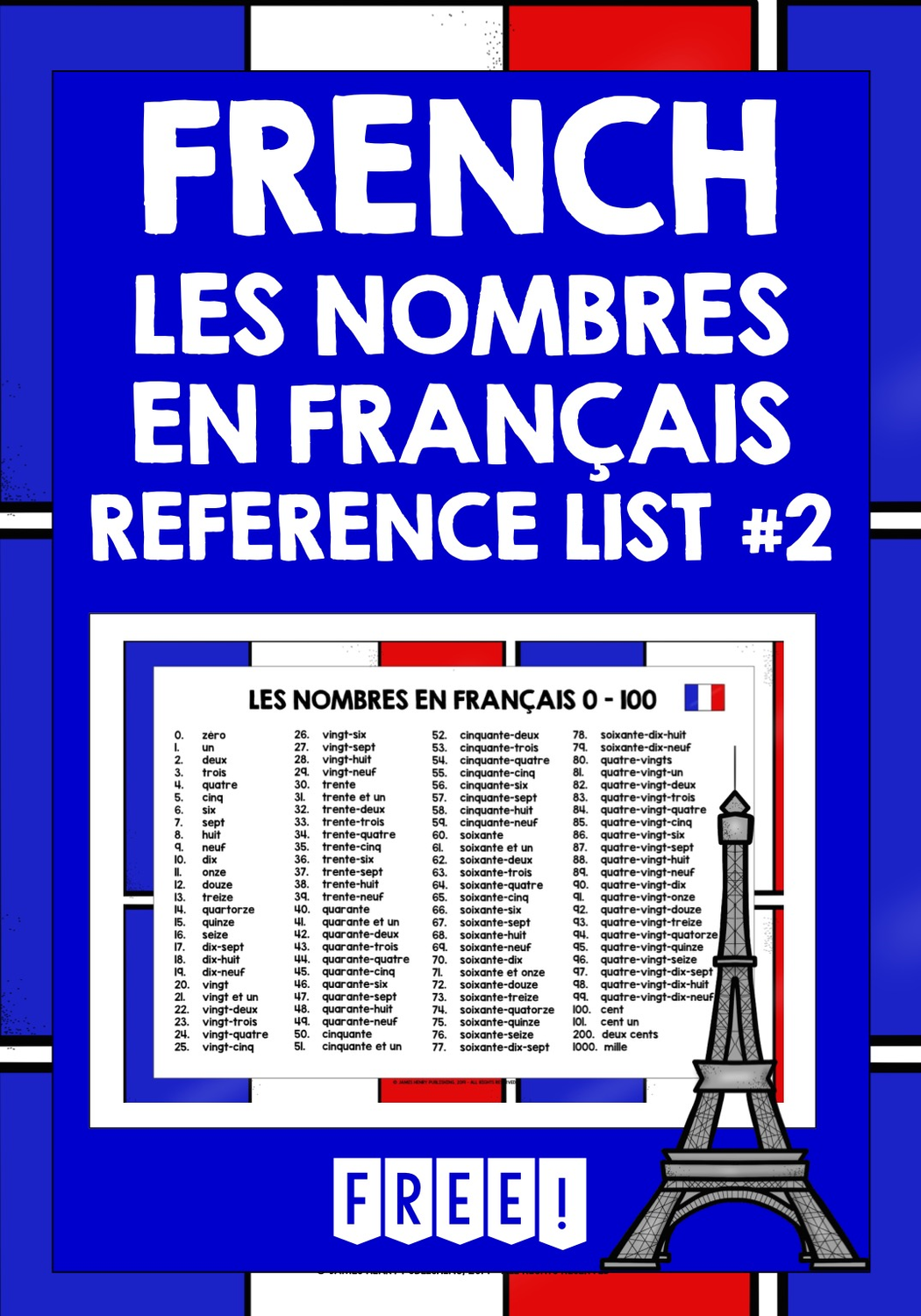 Französisch French Numbers 0 100 Reference List 2 Unterrichtsmaterial Im Fach Französisch Französisch Französisch Lernen Zahlen Lernen