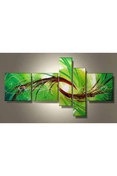 Hand-painted Abstract Oil Painting with Stretched Frame-Set of 5 - WooVow