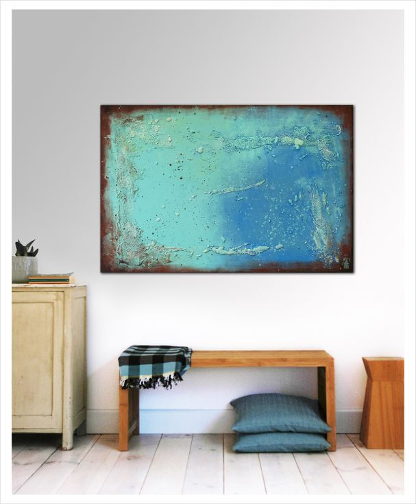 "ARTFINDER: Once Turquoise on Blue Abstract 115 by Ronald Hunter - Acrylic Astract Painting, Original artwork created by Ronald Hunter.  Size: width: 31.5"" (80cm) x Height: 47.2"" (120cm)  Thickness canvas screen: 0.8"" (2cm) ..."