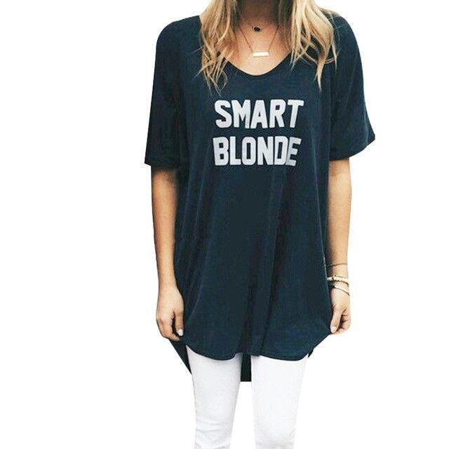 Fun Brunette Smart Blonde Women Dress Best Friend Matching Clothes Letter Print Summer Short Sleeve Casual Mini Dress