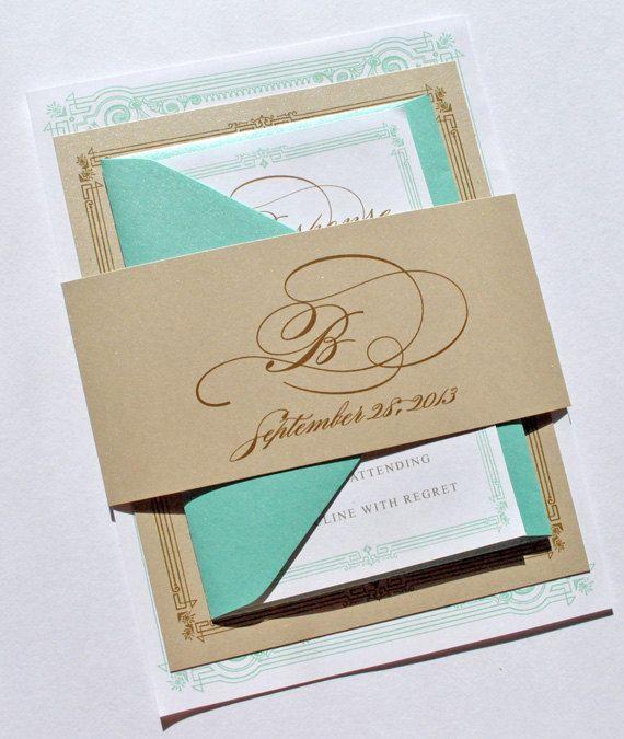 Gold And Blue Wedding Invitations: Tiffany Blue And Gold Wedding Invitations By Whimsy B