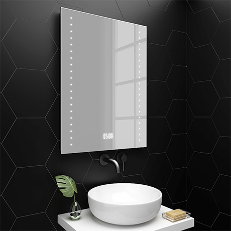 Turin 600x800mm Led Illuminated Bathroom Mirror Inc Digital Clock Anti Fog Shaving Socket In 2020 Bathroom Mirror Small Bathroom Mirrors Wooden Bathroom Mirror