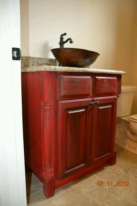Bathroom Vanity In Red Distressed