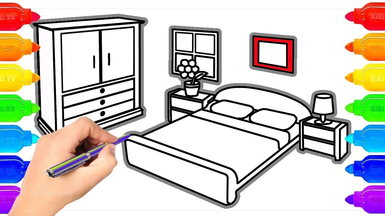 How To Draw Bedroom And Coloring Pages For Kids Art Colours For Kids Coloring Pages For Kids Coloring For Kids Painting For Kids