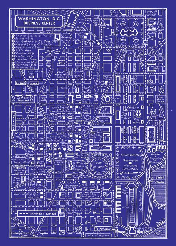 1949 vintage map of downtown washington dc blueprint map print 1949 vintage map of downtown washington dc 11x17 blueprint map print poster 1495 via etsy malvernweather Images