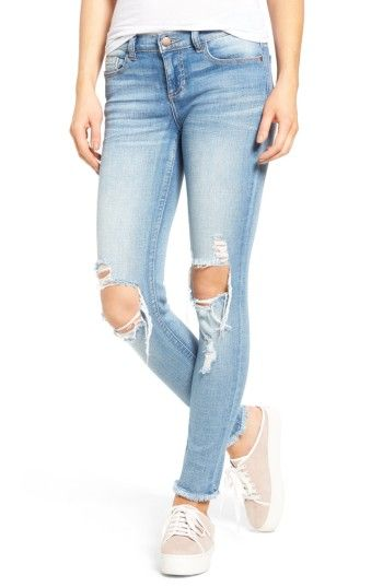 Free shipping and returns on SP Black Ripped Knee Skinny Jeans at Nordstrom.com. Shredded at the knees and cropped at the ankles with raw hems, these faded, mid-rise skinny jeans exude cool-girl attitude.