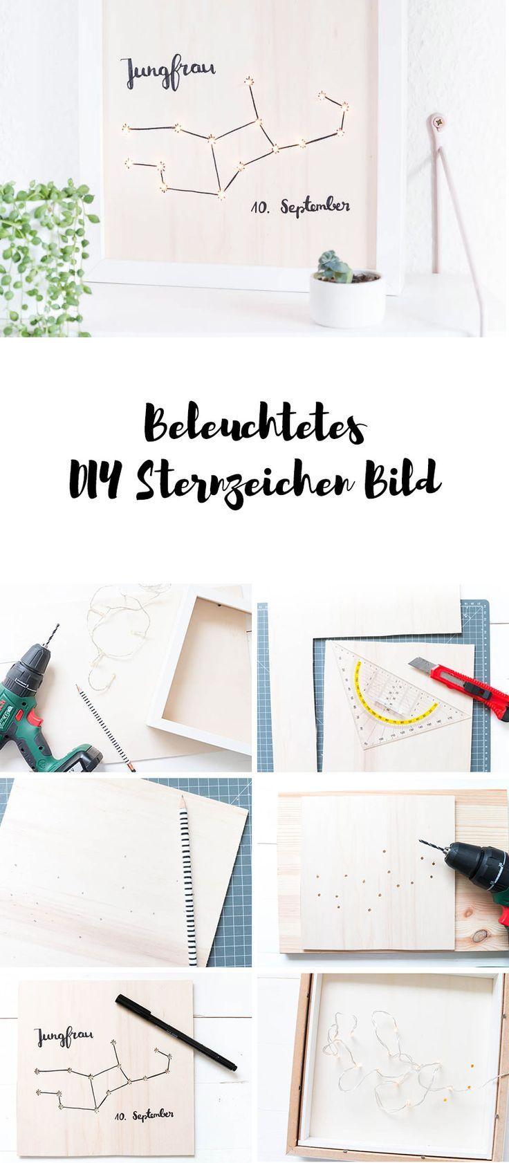 DIY Beleuchtetes Sternzeichen Bild   Lightbox Selber Bauen Mit Holz Und  Lichterkette   Ein Schönes DIY