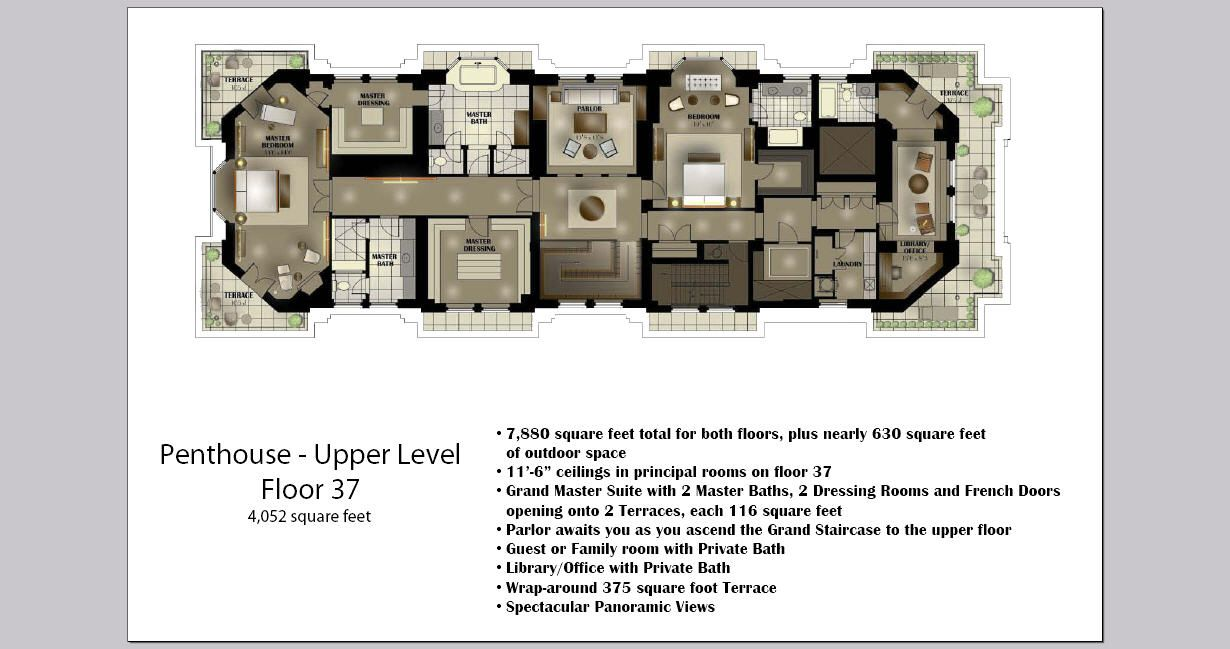 Palmolive Building Penthouse 2nd Floor Outdoor Space Penthouse Floor Plans