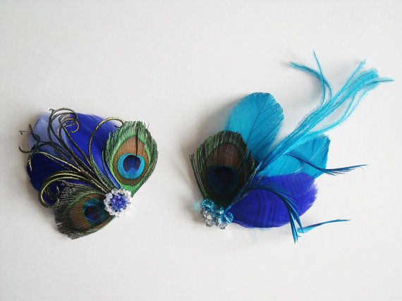 Teal and Navy Blue Peacock Feather Fascintor Set by PetalVeils, $69.95