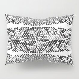 Snake skin scales texture. Seamless pattern black on white background. simple ornament Pillow Sham