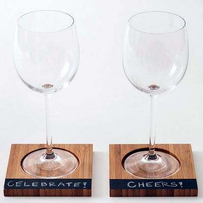 Bamboo Coasters with Chalkboard Labels