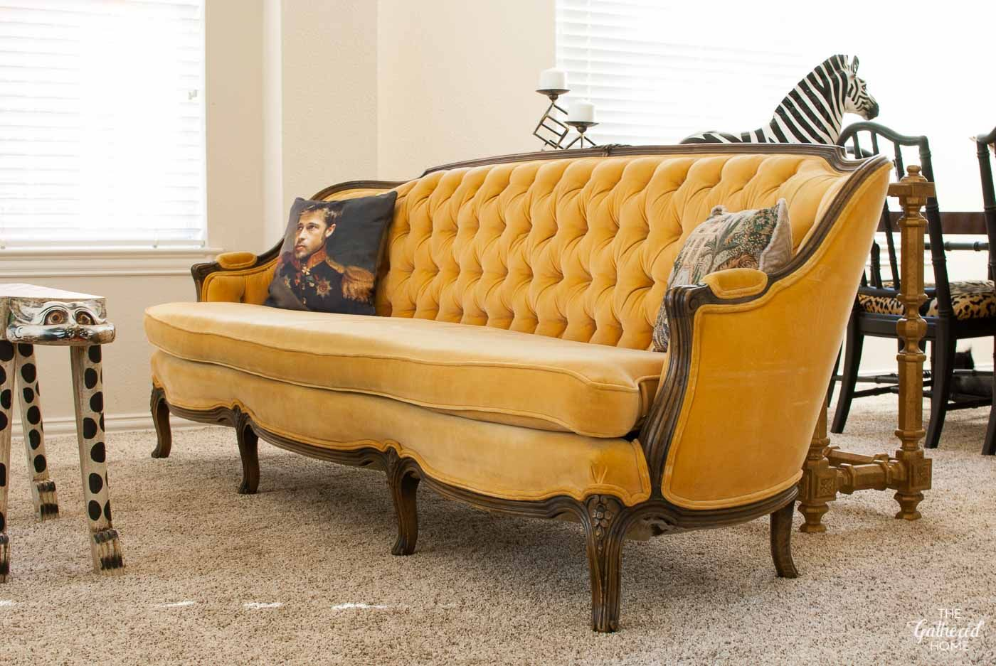 I Love This Sofa Antique Tufted Yellow Meyer Gunther Martini