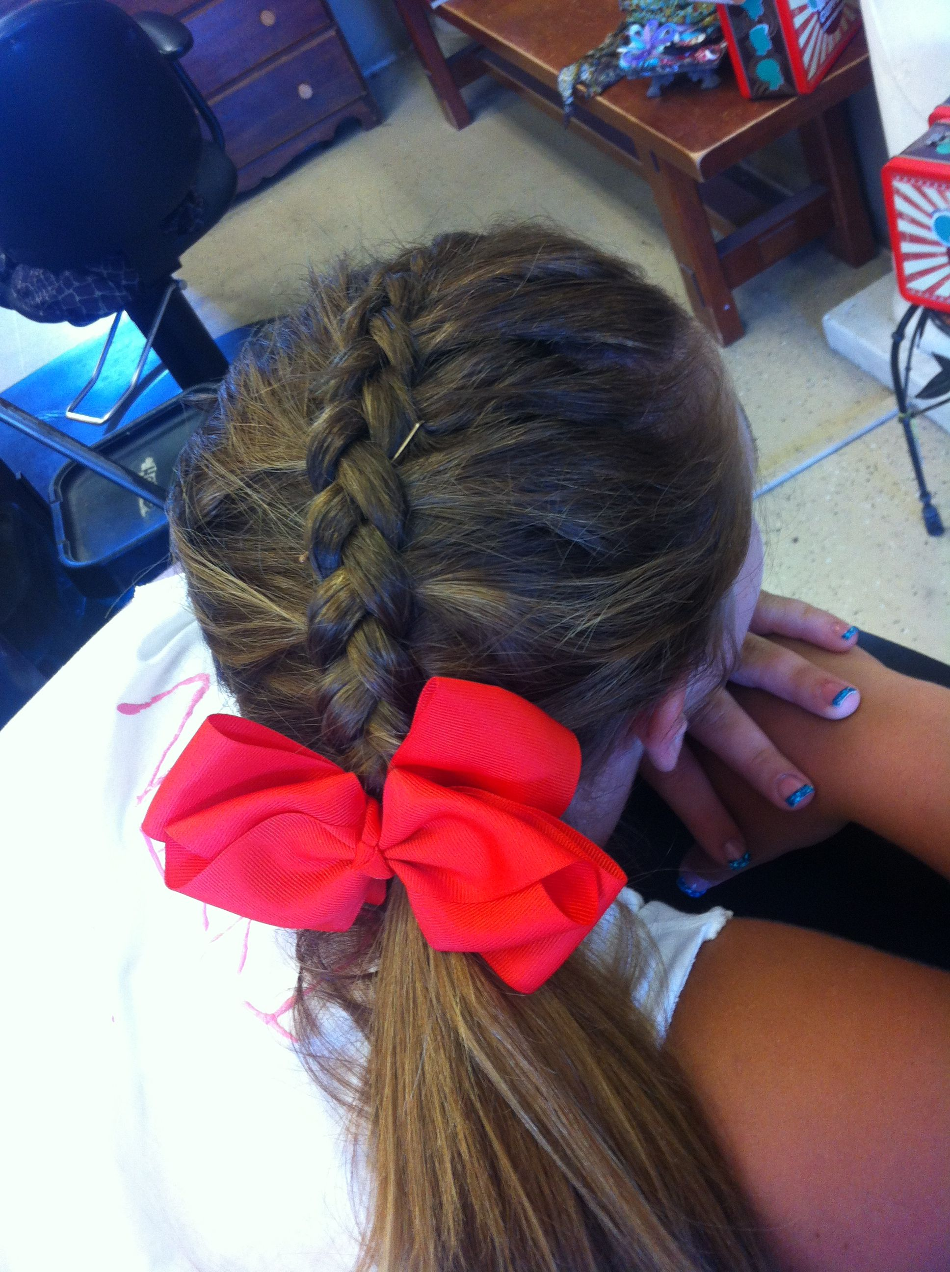 Inside Out Braid Into Ponytail Cheer Hair With Bow Cheerleading Hairstyles Braided Cheer Hair Bow Hairstyle