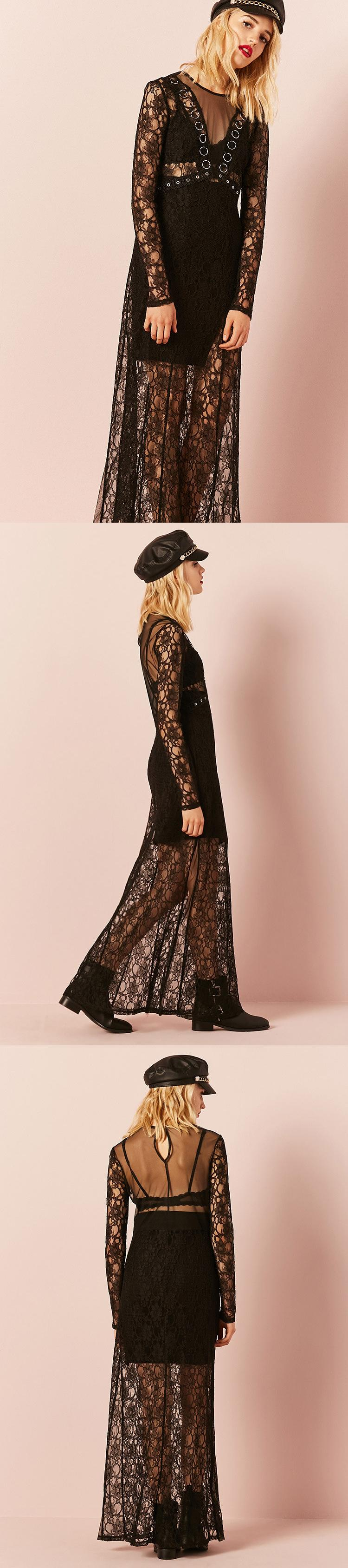 Sheer lace oring maxi dress usd forever new