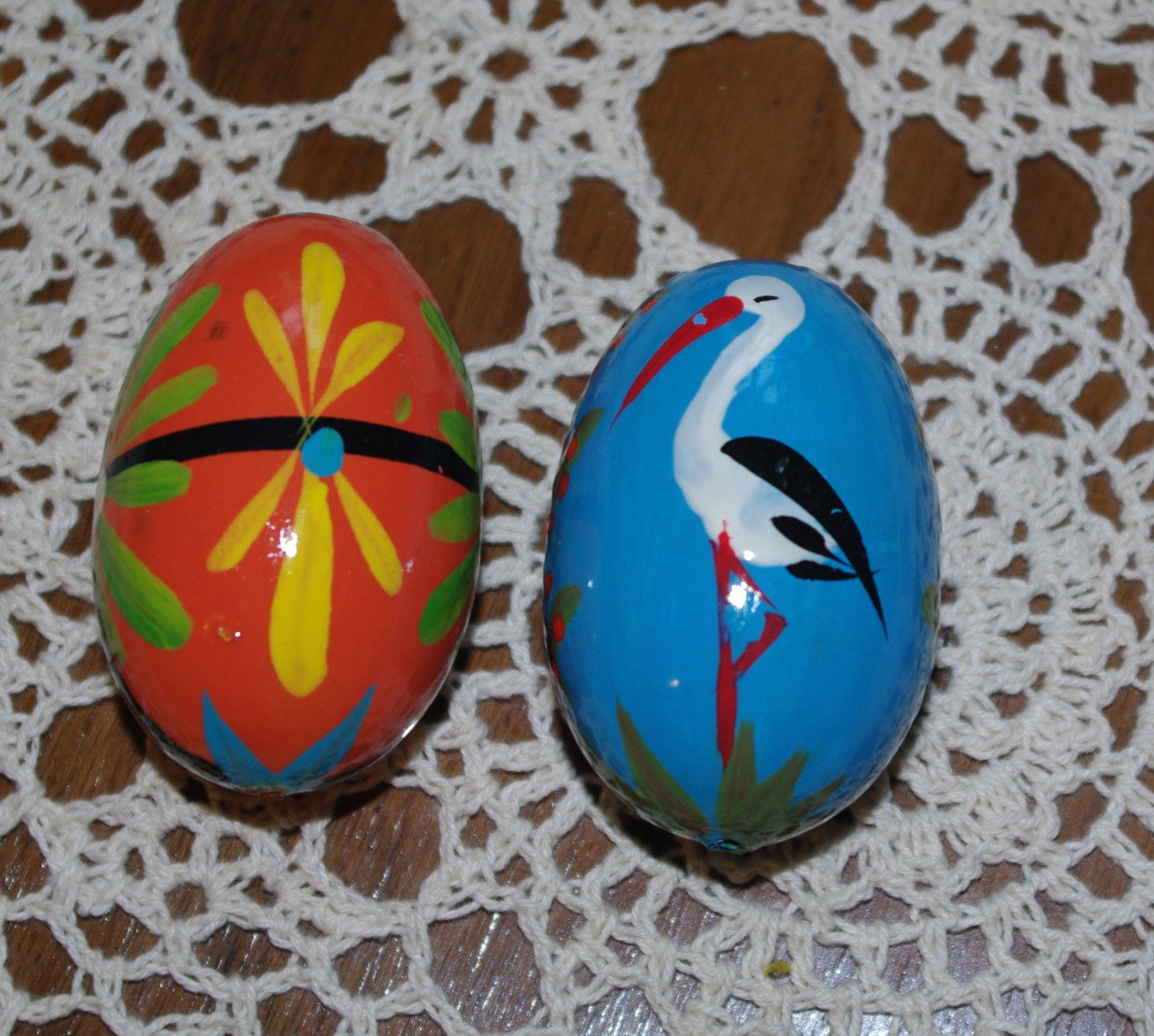 polish easter eggs pysanky hand painted decorative wood eggs pysanka set of 2 stork floral flowers - Images Of Easter Eggs 2