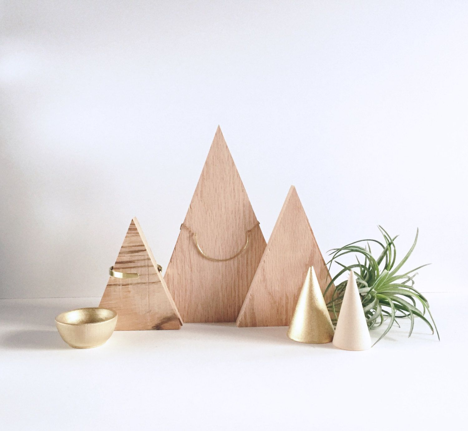 Wood Triangle Necklace Display Minimal Design Jewelry Display