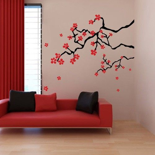 Japanese Spring Cherry Blossom Branches Wall Decals Stickers - Japanese wall decals
