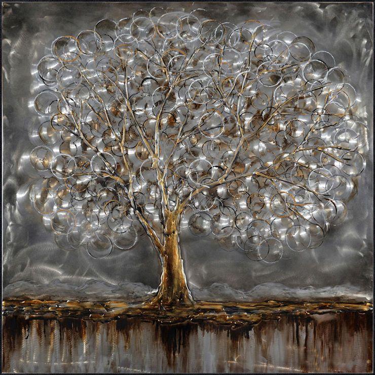 Silver Tree Canvas Art 40x40 In Metal Tree Wall Art Metal Tree Ceiling Art