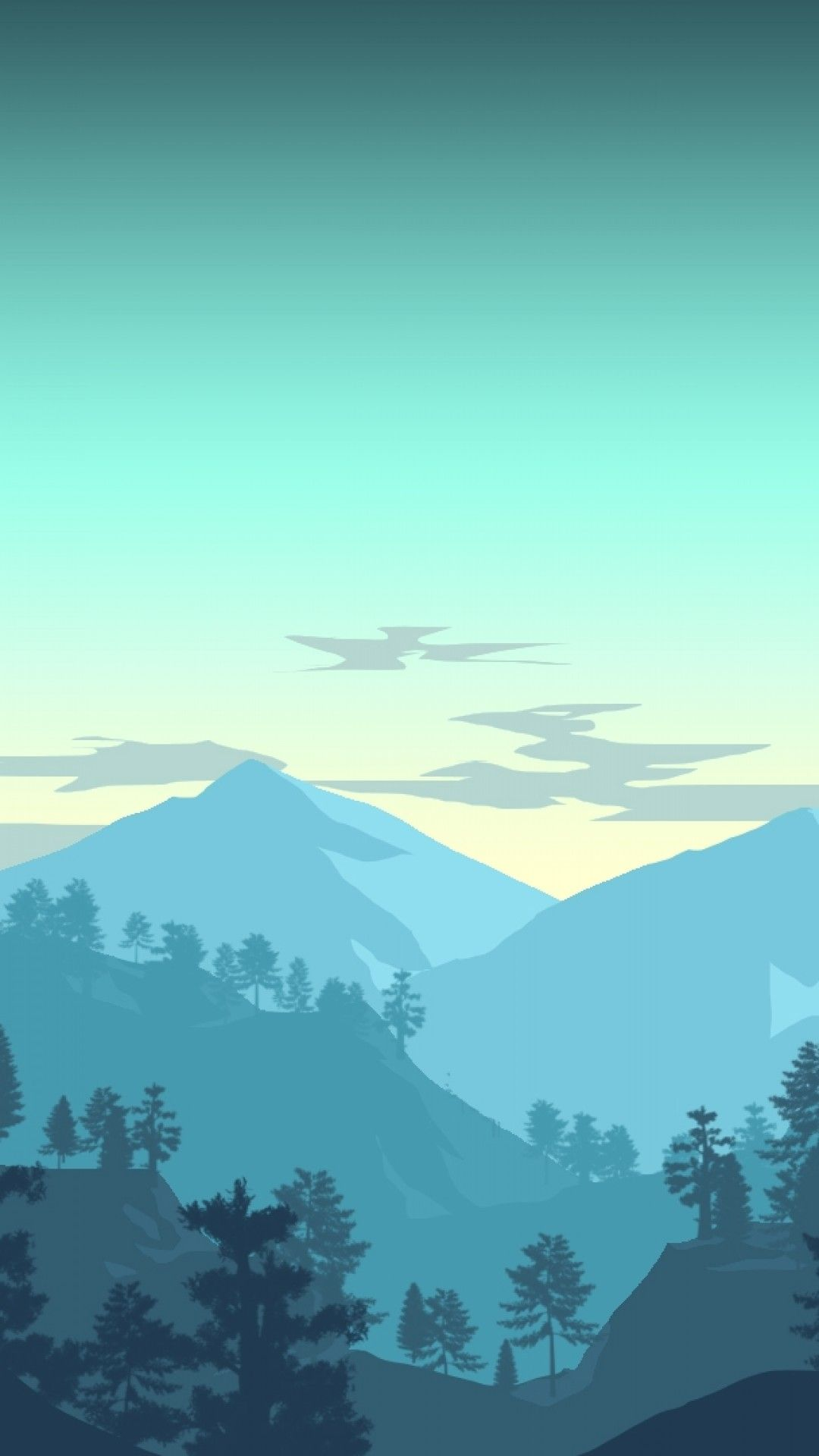 Minimalistic Landscape Mountains Forest Bird Sky Artwork In
