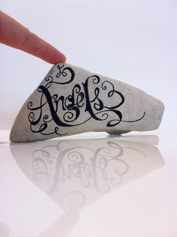 Hand Scripted River Stone Angels Black and White by FizzFinds