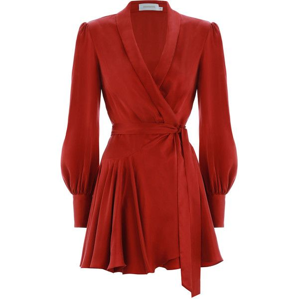 7543ba3bf5a8 ZIMMERMANN Wrap Mini Dress ($405) ❤ liked on Polyvore featuring dresses,  zimmermann dress, blouson sleeve dress, red dresses, short-sleeve dresses  and red ...