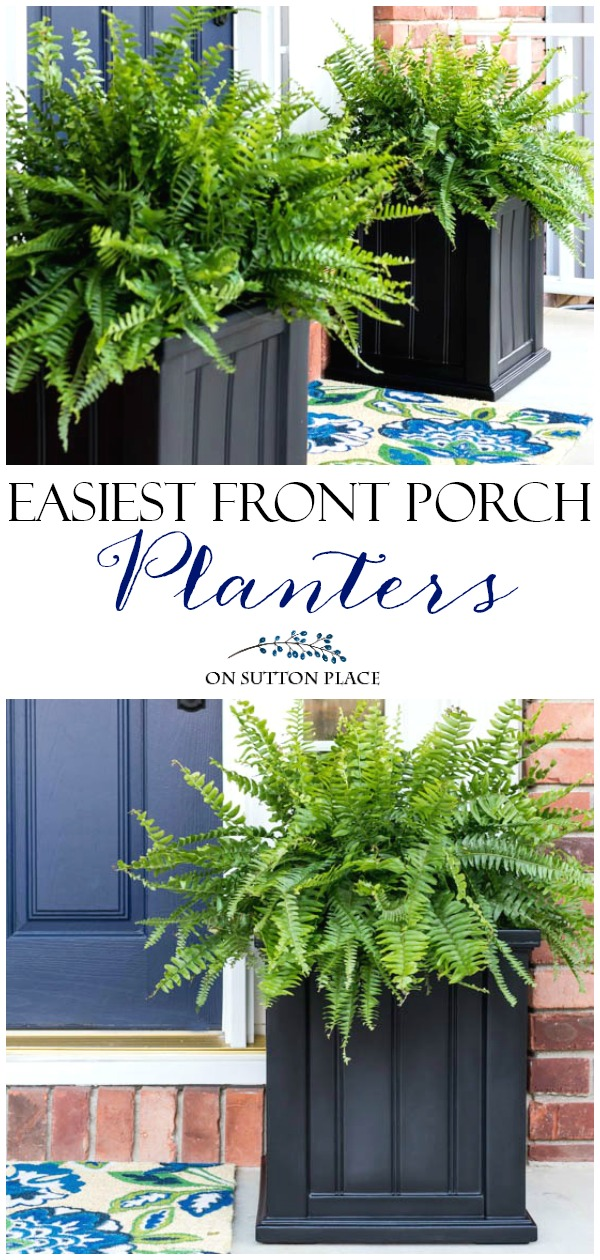 The Easiest Front Porch Planters Ever is part of Porch planters, Front porch planters, Front porch plants, Porch plants, Front door planters, Front porch decorating - The Easiest Front Porch Planters Ever! Super simple and fast containers to dress up your front door  In just a few minutes your porch will go from drab to amazing!