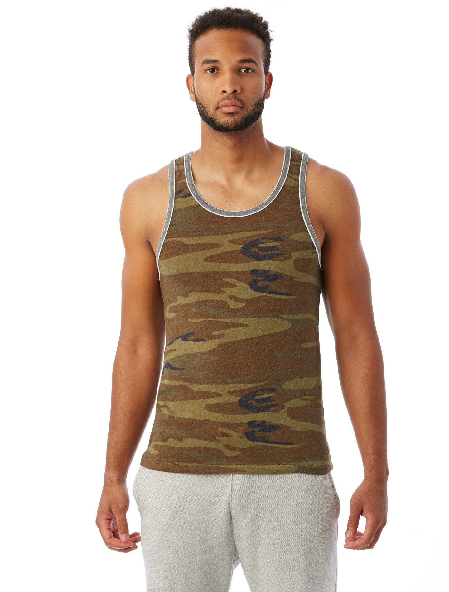 Double Ringer Printed EcoJersey Tank Top Jersey tank