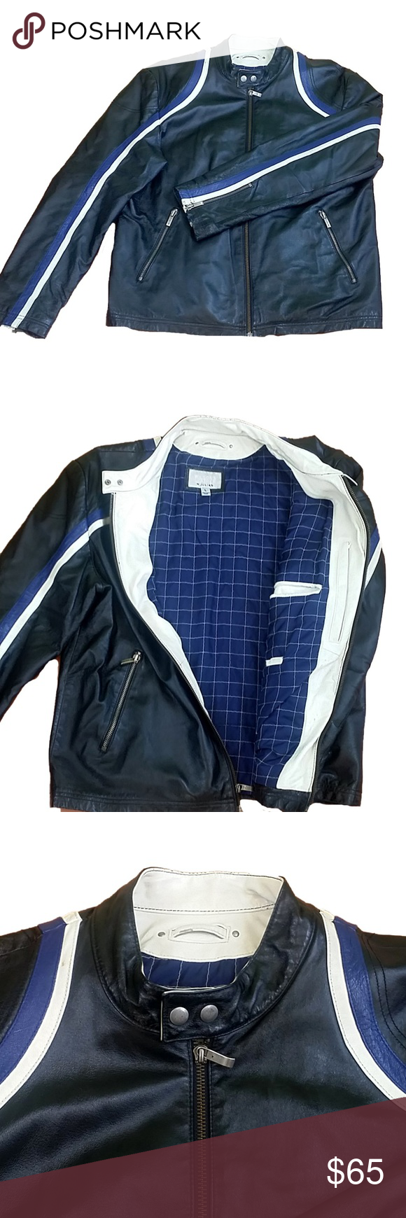 Wilsons M Julian Leather Racer Moto Jacket Quilted lining