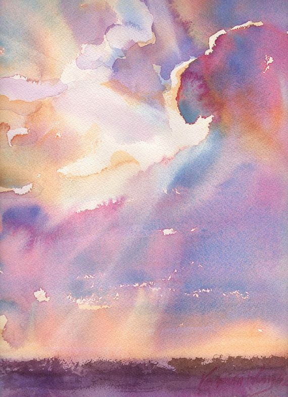 Silver Lining Cloudy Sunset Watercolor - Signed Giclee Fine Art Print by Yevgenia Watts