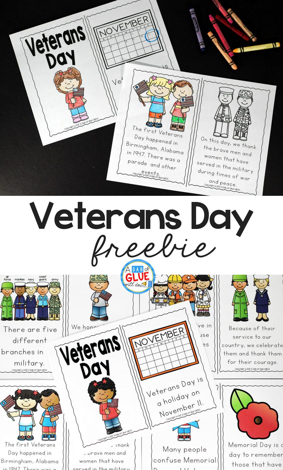 Veterans Day Emergent Reader Veterans Day Activities Veterans Day For Kids Kindergarten Lessons [ 1560 x 941 Pixel ]