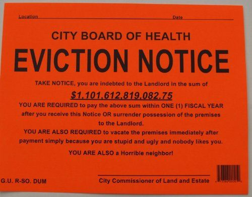 Novelty Eviction Notice Stiker By Novelty Toys  Orange