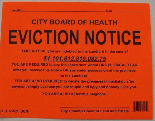 Novelty Eviction Notice Stiker By Novelty Toys  Orange